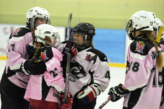 Girls ice hockey match royalty free stock images