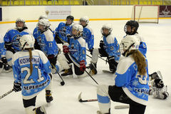 Girls ice hockey match. Children playing hockey on a city tournament St. Petersburg, Russia Stock Images