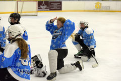 Girls ice hockey match Stock Photos