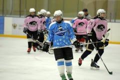 Girls ice hockey match. Children playing hockey on a city tournament St. Petersburg, Russia Stock Photography