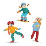 Girls ice skating, snowboarding, playing snowballs Stock Photos