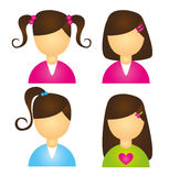 Girls icons Stock Images
