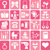 Girls icons. This is a collection of icons related with women & girls Stock Image