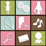 Girls icons Royalty Free Stock Image