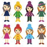 Girls In Different Clothes On White Background Royalty Free Stock Photography