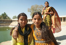 Girls of India. Three beautiful Indian girls wearing traditional outfits,India 2011 Stock Image