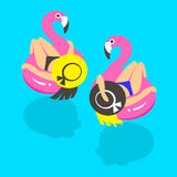 Girls on an inflatable pink flamingo in summer of swims and rests. Vector illustration Royalty Free Stock Photos
