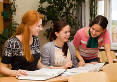 Girls involved in college Stock Photos