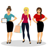 Girls are isolated on white background. Collection of girls. A modern girl. Girl with ipad. Girl with shopping. Isolated objects. Vector illustration Royalty Free Stock Photography