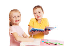 Girls isollated on white Royalty Free Stock Photography