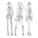 Girls jacket gray. Vecto fashion model set. Vector collection of clothing. Dress pencil sketch. Vector fashion outline Stock Illustration