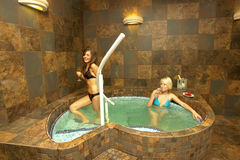 Girls in jacuzzi Royalty Free Stock Photography
