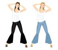Girls in jeans and white top. Vector illustration of girls in jeans and white top  on white background. Blond girl and brunette girl Stock Images