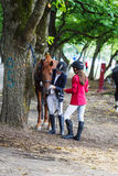 Girls the jockeys. Royalty Free Stock Images