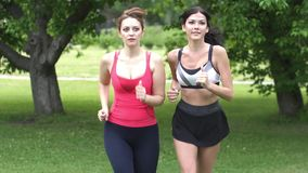 Girls jogging in the park. Girlfriends go in for sports together. slow motion. Girls jogging in the park. Girlfriends go in for sports together stock video footage