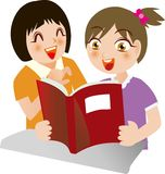 Girls joy in reading Royalty Free Stock Images