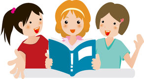 Girls joy in reading. Illustration of Girls reading together very happy Royalty Free Stock Image