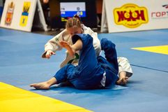 Girls in Judo competitions Royalty Free Stock Photography
