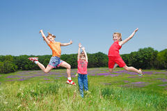 Girls jumping Royalty Free Stock Photo