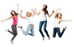 Girls  jumping in air Stock Photos