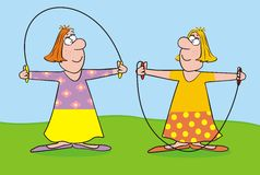 Girls jumping rope. Two women jumping rope. Humorous illustration Royalty Free Stock Photos