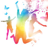 Girls Jumping in the Summer. Abstract Illustration of Young Girls Jumping to the music of a summer festival Royalty Free Stock Images