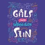 Girls just wanna have sun lettering vector illustration