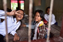 Girls from Khmer Village. Little girls from the local Khmer village in the school Stock Photography