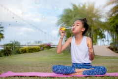 Girls kid happiness funny soap bubble in the park ,Laughing happy wi stock photo