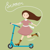 Girls kids female having fun riding scooter happy child active beautiful Royalty Free Stock Photography