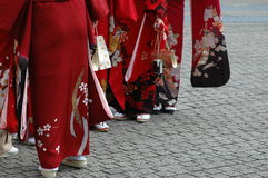 Girls in kimono. Group of girls in kimono Royalty Free Stock Photography