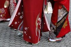 Girls in kimono. Group of girls in kimono royalty free stock photo