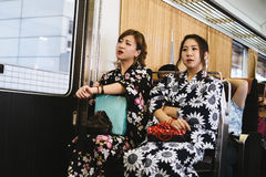 Girls in kimono Stock Photography