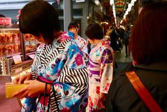 Girls in kimono shopping in teramachi in kyoto stock photos