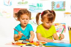 Girls in kindergarten lesson Royalty Free Stock Images