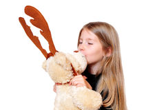 Girls kissing Teddy Royalty Free Stock Photography
