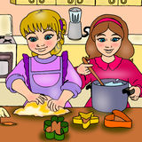 Girls in the kitchen. The illustration of two girls in the kitchen preparing a dough Stock Illustration