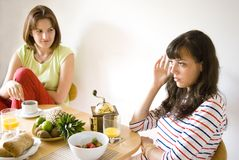 Girls in the kitchen Royalty Free Stock Photography