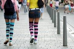 Girls in knee socks Royalty Free Stock Photos