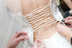 Girls lace up a dress of the bride Royalty Free Stock Image