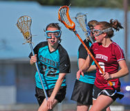 Girls Lacrosse Defense 02 Stock Images