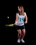 Girls Lacrosse isolated on black background Royalty Free Stock Photography