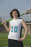 Girls Lacrosse player portrait Royalty Free Stock Photos