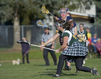 Girls Lacrosse Shot blocking Stock Photography