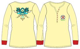 Girls / Ladies Fancy Printed Fashion Fullsleeve Tops Illustration with Print & Embroidery Stock Photography