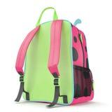 Girls Ladybug School Backpack on a white. 3D illustration Stock Image