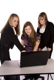 Girls and laptop Stock Images