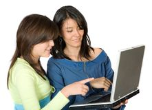 Girls on a laptop Stock Photos