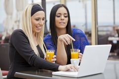 Girls with laptop Stock Photography