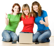 Girls with a laptop Royalty Free Stock Images